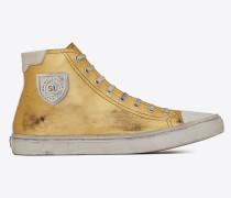 Bedford sneaker in metallic destroyed leather