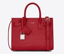 nano sac de jour-tasche aus rotem glanzleder mit krokodillederprägung