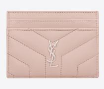 loulou kreditkartenetui aus verwaschen rosafarbenem glanzleder mit y-steppnähten