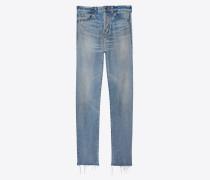 Slim jeans in raw edge denim with bandana detailing