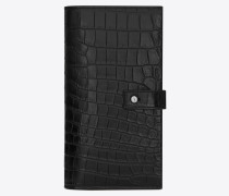 Langes Sac de Jour Portemonnaie aus schwarzem Leder mit Krokodillederprägung