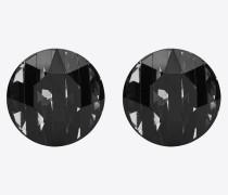 SMOKING striped earrings in metal, enamel and crystals