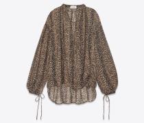 peasant blouse in  leopard print etamine