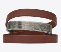 nomade dreifaches armband aus dunkelbraunem leder und metall