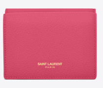 Kleines SAINT LAURENT PARIS Portemonnaie aus pinkfarbenem Narbenleder
