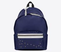 City Rucksack aus marineblauem und weißem Leder
