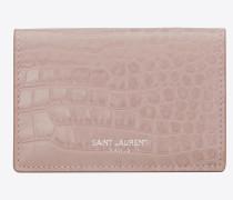 saint laurent paris kleines portemonnaie aus puderrosa glanzleder mit krokodillederprägung