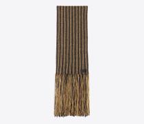 Schal mit Fransen aus schwarzem und goldfarbenem Lurex-Strick