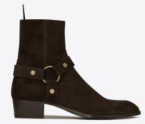Wyatt 40 Steigbügel-Stiefel aus ebenholzfarbenem Veloursleder