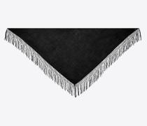 Dreieckiger Schal aus schwarzem Wolltwill mit Makramee-Fransen