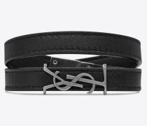 OPYUM doppeltes Wickelarmband aus schwarzem Leder und silberfarbenem Metall