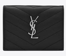 Monogramme Kreditkartenetui aus schwarzem Narbenleder mit Steppnähten
