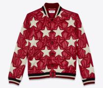 Wattierte College-Jacke aus lackiertem Nylon