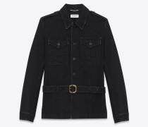 Safari jacket in worn black denim