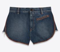 Weite Western-Shorts in tiefem Vintage-Blau