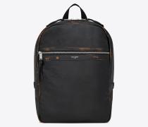 City Rucksack aus schwarzem und cognacfarbenem Vintage-Leder