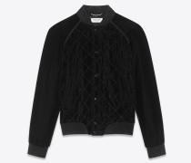 College-Jacke aus schwarzem abgestepptem Samt