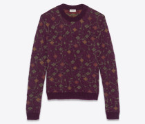Pullover aus violettem Jacquardstrick mit Blumenmuster