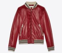 College-Jacke aus lackiertem Nylon mit Kontrastpaspelierung