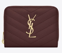Monogram compact zip wallet in textured and quilted leather