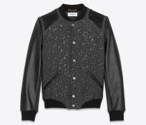 Teddy-Jacke aus glitzerndem Tweed und schwarzem Leder
