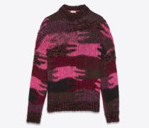 Pullover aus pinkfarbenem Jacquardstrick mit Camouflage-Muster