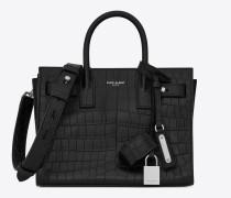 weiche nano sac de jour-tasche aus schwarzem leder mit krokodillederprägung