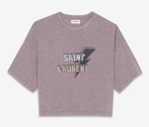 crop-t-shirt aus violett meliertem jersey mit saint laurent-blitzprint