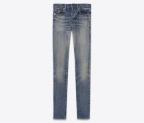 skinny-jeans mit mittlerer leibhöhe aus ausgebleichtem blauem denim