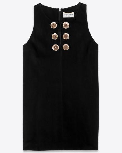 Besticktes Kleid aus schwarzem und silbernem Spaltleder