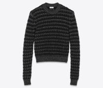 Gestreifter Pullover aus schwarzem und silberfarbenem Lurex