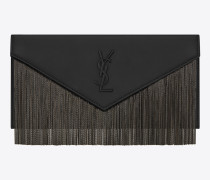 le sept beuteltasche aus schwarzem leder mit fransen