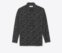 bluse aus schwarzer baumwolle mit pixeljacquard