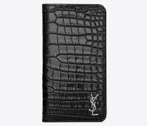 MONOGRAM iPhone XS case in crocodile embossed shiny leather
