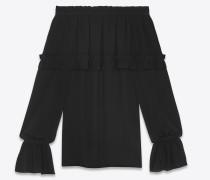 gypsy-bluse aus schwarzem seidengeorgette mit gesmockter schulterpartie
