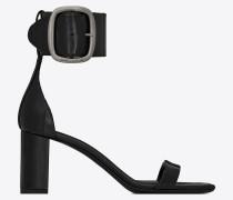LOULOU Sandale aus schwarzem Aalleder