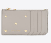 Fragments zippered card case in star-print leather