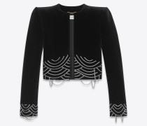 Embroidered cropped jacket in velvet