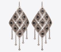 MARRAKECH Ohrringe mit plattenförmigen Charms mit Karomuster aus Metall und Emaille