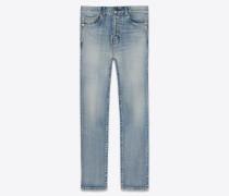 Straight-Cut-Jeans mit Aufschlag aus blauem Stretch-Denim im Vintage-Stil der 80er Jahre