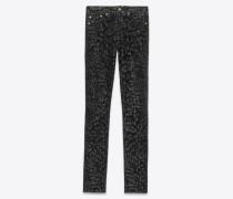 Skinny Jeans mit mittlerer Leibhöhe aus schwarzem Samt mit Leopardenprint