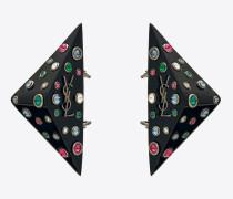 EIGHTIES Dreiecksohrring aus schwarzem Kunstharz mit bunten Kristallen