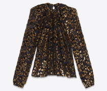 Loose ruched blouse in silk and leopard lamé velvet