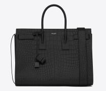 große sac de jour-tasche mit großem fassungsvermögen aus schwarzem leder mit krokodillederprägung