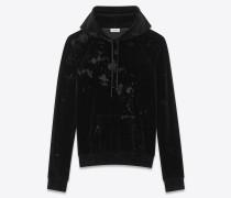 Kapuzensweatshirt aus schwarzem Samt mit Dévoré-Finish