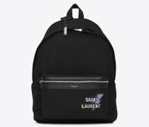 city rucksack aus schwarzer canvas mit reißverschluss und nieten