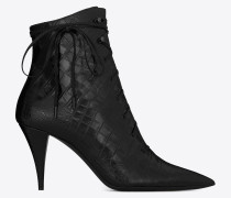 KIKI Laced ankle boots in crocodile-embossed leather