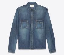 Gerade geschnittenes Hemd aus blauem Vintage-Denim mit Dirty-Medium-Waschung