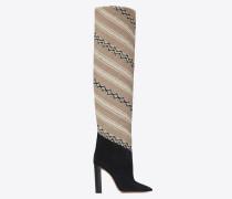 hohe tanger 105 stiefel aus ikat-stoff und schwarzem velours
