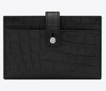 Sac de Jour Kartenetui aus schwarzem Leder mit Krokodillederprägung